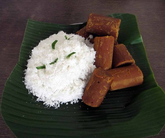 Grated coconut & palm sugar - giving the Malay kuih its signature taste